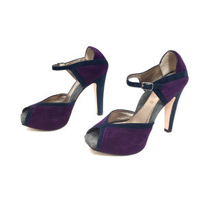 Dana Davis Navy and Purple Suede Platform Heels